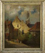 Englischer Maler nach älterem Vorbild Hausecke mit Blick auf Kirchturm. Am Zaun zwei wartende