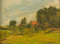 Gérard, Gilbert (um 1900/1910) Sommerlandschaft. Hinter Bäumen rotes Dach eines Bauernhauses.