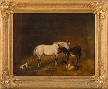 Herring, John Frederik (1795-1867), nach Drei sehr verschiedene Freunde. Weißes Pony mit Esel,