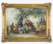Hallatz, Emil (Frankfurt/O., Berlin 1837-1888) Zwei Landmädchen beim Brotbacken in westfälischer