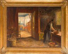 Beckmann, Wilhelm (1852-1942) Im Deichhof. Kücheninterieur mit Blick in die Wohnstube. Am