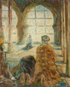 Frank Morgengebet in der Moschee. Vier Gläubige, den Blick nach Mekka gerichtet. Schwer lesbar sign.