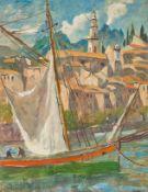 Hellwag, Rudolf (Innsbruck, Berlin 1867-1942) Mentone. Ankerndes Segelboot vor Kirche und Häusern.