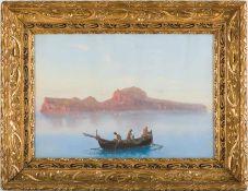 Corelli, Augusto (1853-1918) Fischer vor Capri auf windstillem Wasser. Sign. Gouache. 42×60 cm.
