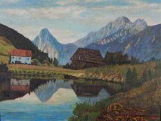 Grund, H. (20. Jh.) Gebirgssee mit Scheune und Bauernhaus. Unleserlich sign. Malkarton. 60×78 cm. R.