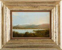 Deutscher Maler (19. Jh.) Comersee mit Blick auf Lecco und den schneebedeckten Monte Resegone. Holz.