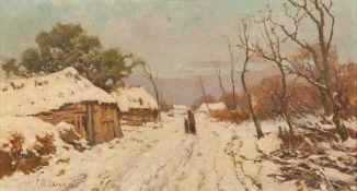Hammes, Christian Hendrik (1872-1965) Verschneite Dorfstraße. Auf dem Weg Mutter und Kind. Sign.