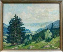 Geyer, Fritz (1872-1947) Blick auf den Titisee im Schwarzwald. Sign. Lwd. 99×123 cm. Rückseitig