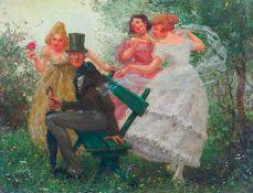 Dolka, H. (München, um 1900/1910) Von drei fröhlichen Damen überraschter Kavalier. Auf Parkbank.