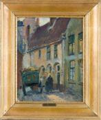 Gaisser, Max (Augsburg, München 1858-1922) Gasse und Karren. Sign. Malkarton. 34×27 cm. R. (56577)