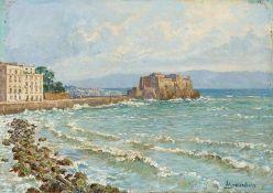Dieselbe Neapel. Castello dell'Ovo. Sign. Starker Malkarton. 17,5×23,5 cm. Rückseitig Stempel d.