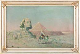Bouvier, M. (2. H. 19. Jh.) Sphinx und Pyramiden von Gizeh. Sign. 49×78 cm. R. (57197)
