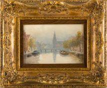 Derselbe Amsterdamer Gracht mit Blick auf die Neue Kerk. Sign. Holz. 11×16 cm. R.(57200)