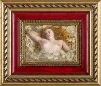 Französischer Maler Kuwasseg (um 1900) Rothaariger Halbakt im Bett liegend. Sign. u. bez. Fils.