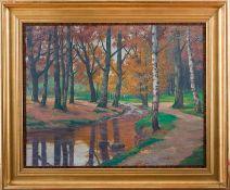 Felix-Schulze, Arthur (geb. 1874, Stadt Naunhof) Lichter Buchenwald mit Wasserlauf und Sandweg im