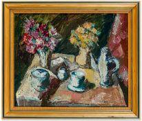 Cleff, Walter (1870-1939), zugeschrieben Stillleben. Gedeckte Kaffeetafel und 2 Blumensträuße.