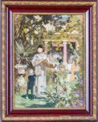 Friedrich, Woldemar (Gnadau, Berlin 1846-1910) Mutter und Knabe im Garten einer Stadtvilla.