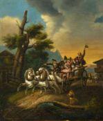 Bürkel, Heinrich (Pirmasens, München 1802-1869) Von Fest heimkehrende Bauernpaare in Leiterwagen,