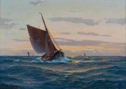 Glüsing, Wohl Martin Franz (1885-1956) Fischkutter auf hoher See bei Sonnenuntergang. Sign.: