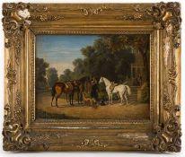 Emélé, Wilhelm (Buchen/Odenwald, Berlin 1830-1905) Aufbruch zum Morgenritt. Vier Reitpferde, von