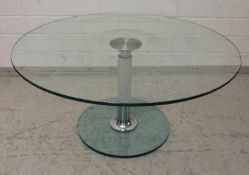 Design-Tisch Glas/Edelstahl, rund, dicke Standscheibe (Chips,Kratzer), höhenverstellbare Säule,