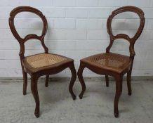 Paar Spätbiedermeier Stühle, Mitte 19.Jh. Mahagoni, geschweifte Beine und Zarge, Balonrücken,