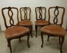 4 Barock-Stühle, 20.Jh. Buche, geschweifte Beine und Zarge, Akanthus- und Rocailleschnitzerei,