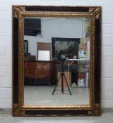 Spiegel, 20.Jh. Holz ,stuckiert, rechteckig, teilvergoldet, Blattrelief und Perlstäbe, 125x100 cm