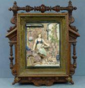 Schlüsselkasten, um 1900 Eiche, geschnitzt u. gedrechselt, Fayence-Relief: Tauben fütternde Magd