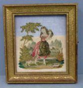 Schlüsselkasten, um 1840 Stickbild: Mädchen, Katze vor Hund schützend, Hohlkehl-Rahmen mit geprägtem