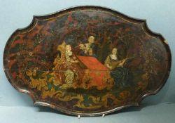 Tischplatte, um 1760 Holz, oval, passig geschweift, großfig. Genreszene: Querflöte spielender