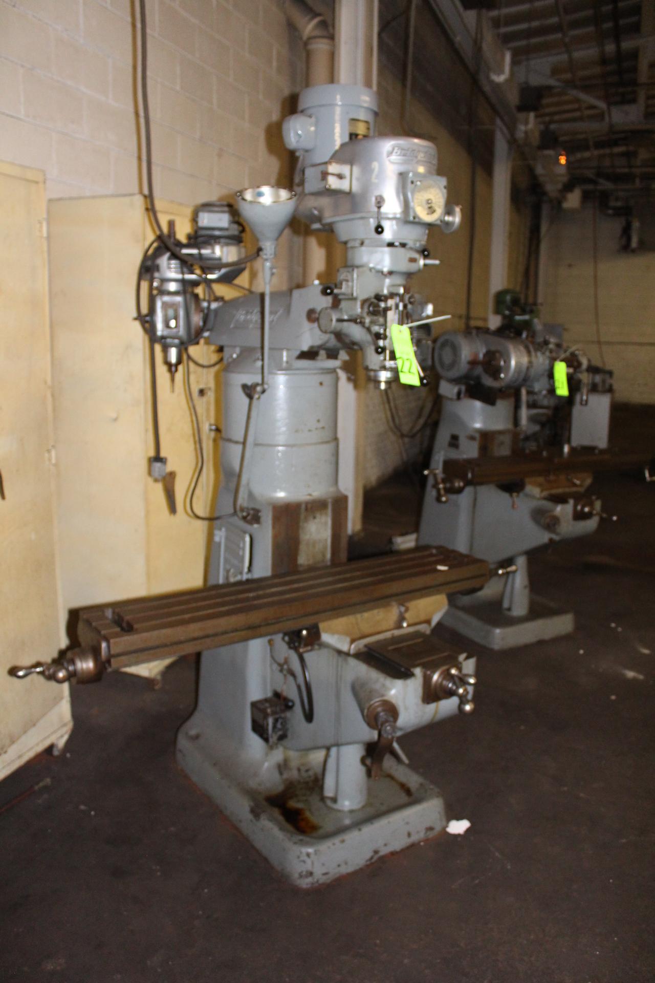 Lot 22 - Bridgeport 1-1/2 Hp Variable Speed Vertical Milling Machine