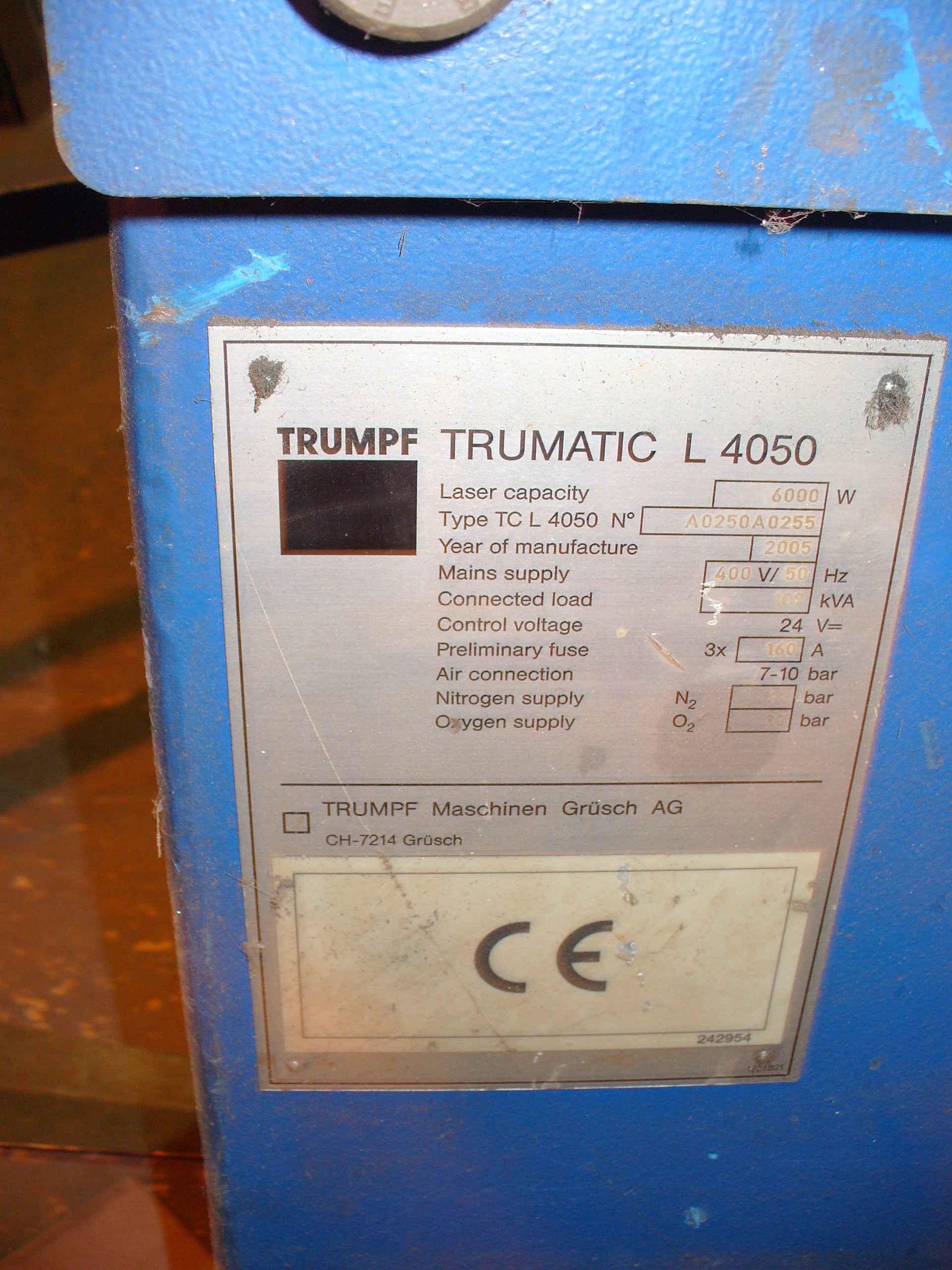 Lot 452 - 2005 Trumpf Trumatic L4050 4m x 2.0m - 6kw LASER PROFILE MACHINE