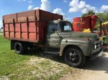 Lot 5 - 1956 Int R-160 series single axle truck with 11' grain bed and hoist, only 42,486 miles.