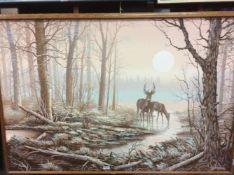 Letterman 'Herten in het bos' schilderij op doek, 102x153 cm