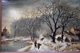 A.B. van Hattem 'Winterlandschap' schilderij op doek, 60x90cm. (Classical painting, signed, canvas)