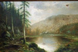 'The Lake' schilderij op doek, gesigneerd, 69x107 cm. Classical painting on canvas, imperfect,