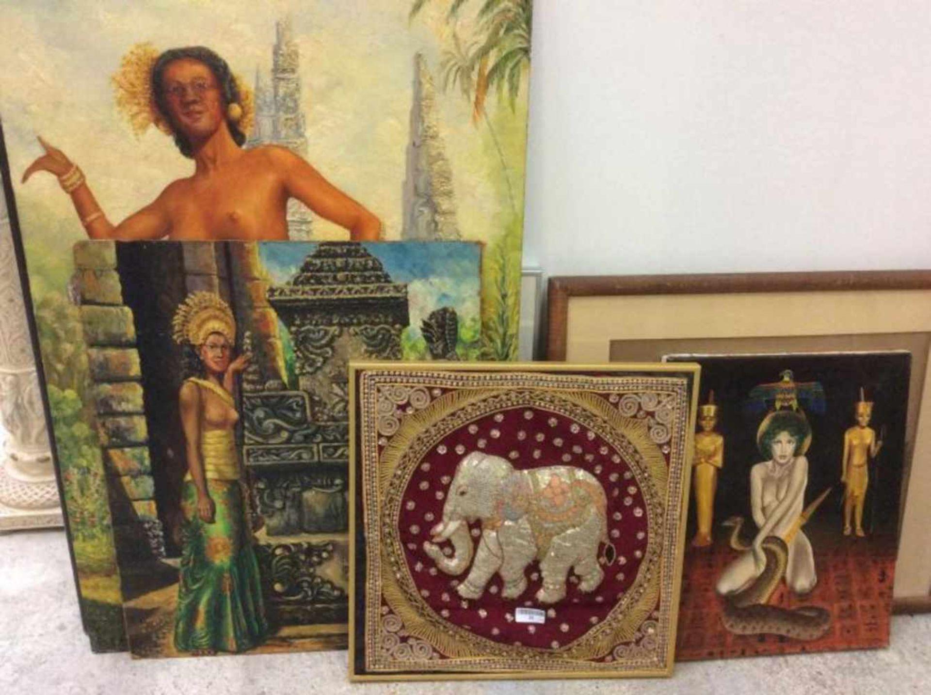 Lot van 4 Aziatische schilderijen, gemengde materialen.