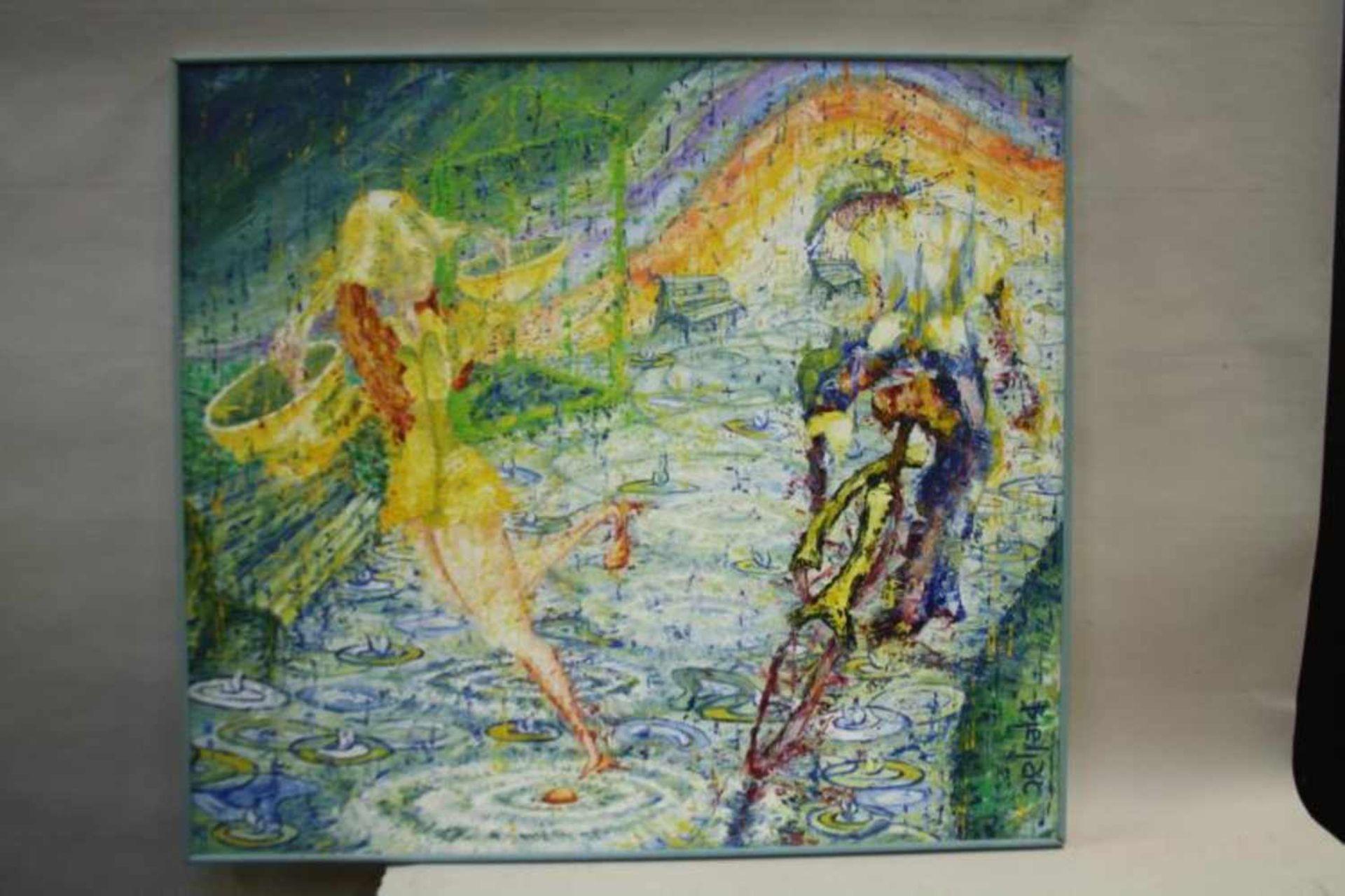Modern schilderij 'Regenachtige dag' op doek, gesigneerd, 90x100 cm. (Modern painting, canvas,