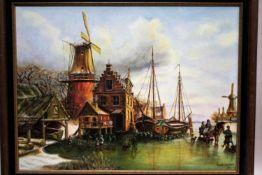 'Mooie winterdag' klassiek schilderij op canvas, gesigneerd, gedateerd 1980, 60x80 cm. (Classical