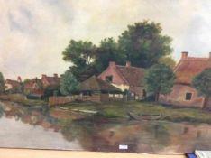 Klassiek schilderij 'Wonen aan het water' op doek, gesigneerd, 90x130 cm. (Classical painting,