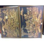 Twee maal batikdoeken, ingelijst, ca. 60x90 cm