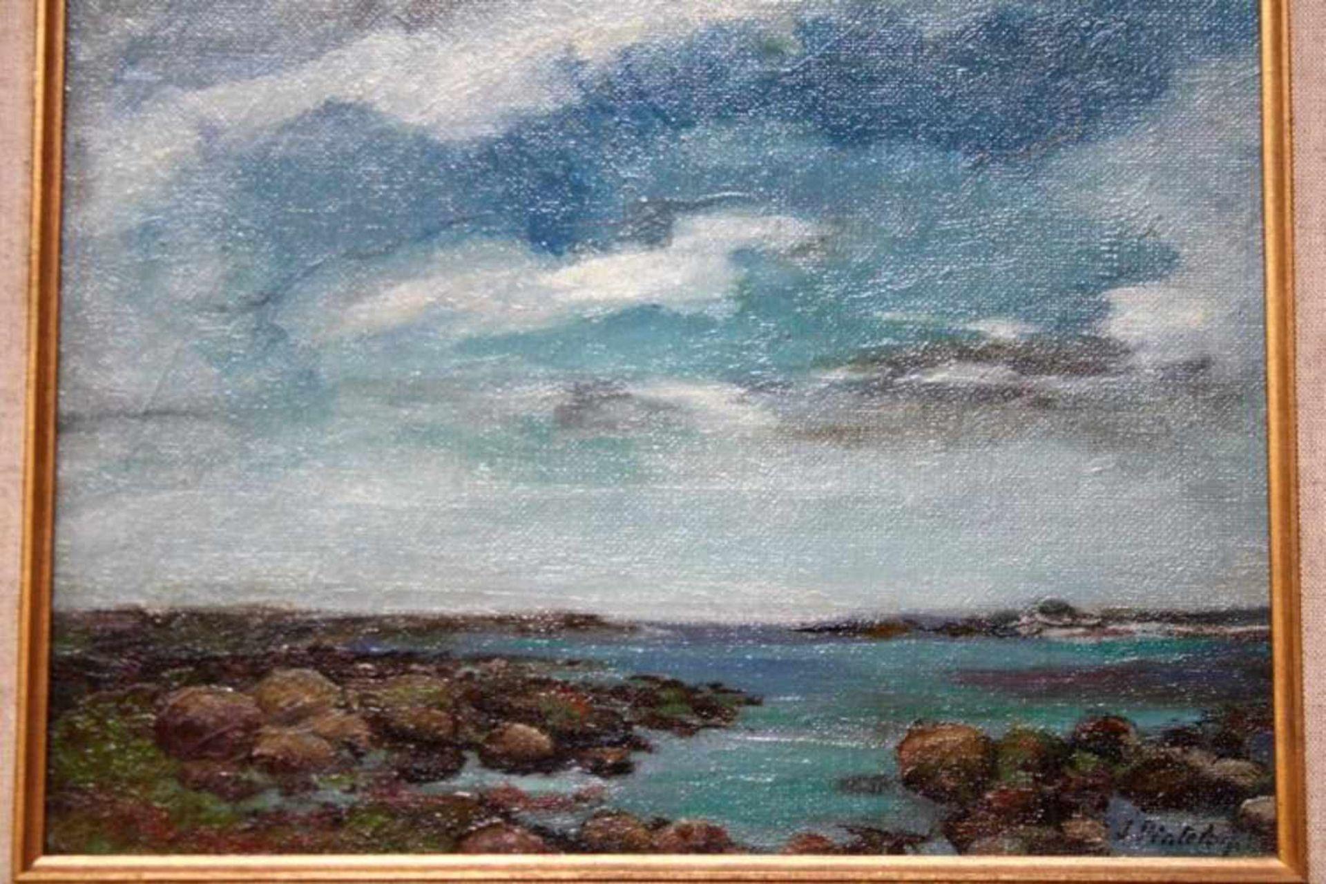 'Kustgebied' schilderij op paneel, gesigneerd, 26x35cm. (Classical painting, on board, signed)
