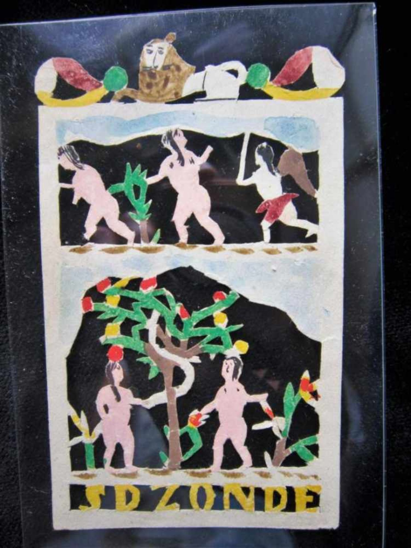 Jantje de Prentenknipper, prentje 'SD ZONDE' (Adam en Eva met slang en duivel) ca. 9,5x6cm