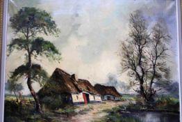 'Landschap met hoeve' schilderij op doek, gesigneerd, 60x80cm. (Classical painting, signed, canvas)