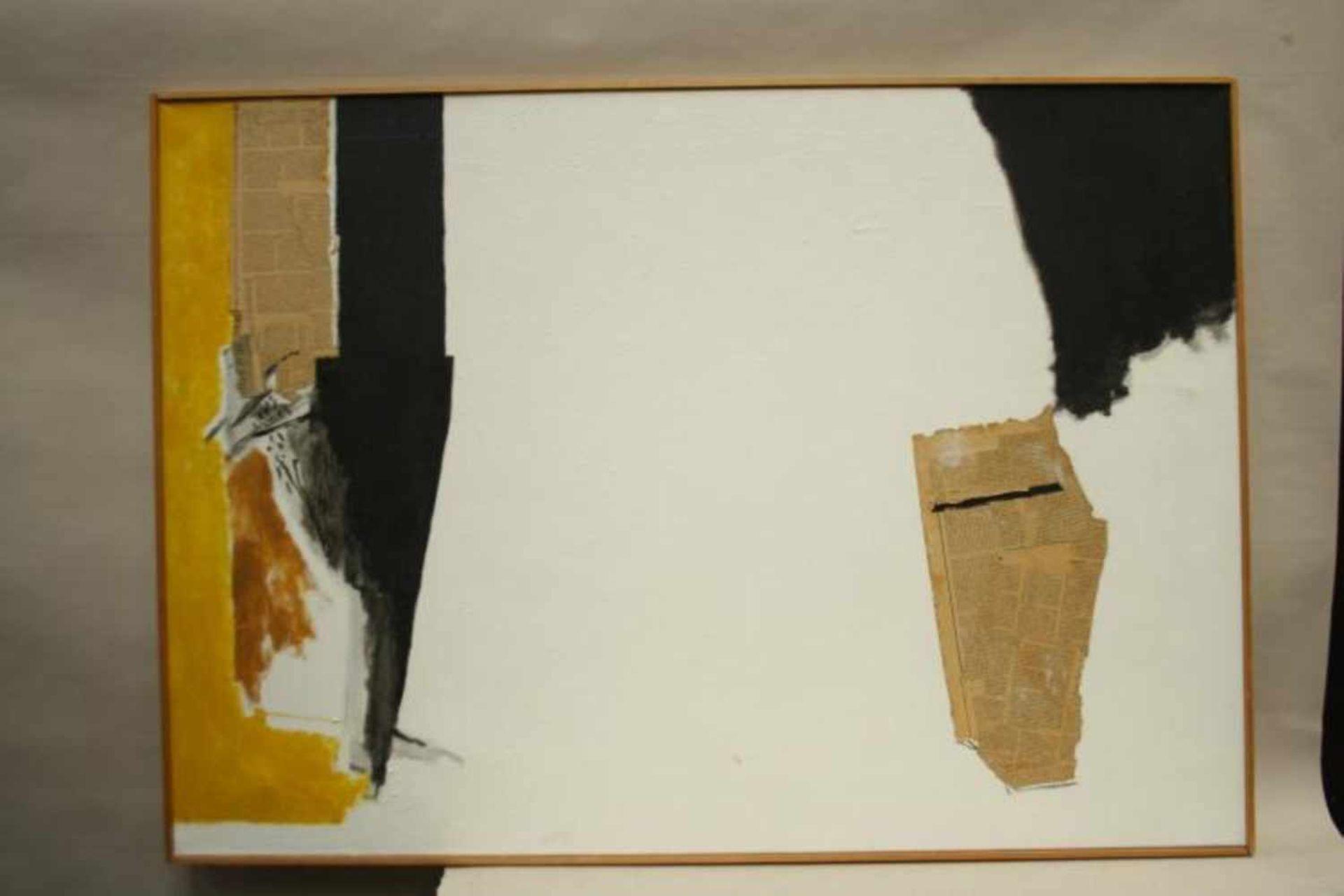 Twee moderne schilderijen op doek, niet gesigneerd, ca. 80x100 cm. (Modern paintings, canvas, not