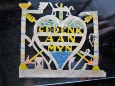 Jantje de Prentenknipper, prentje 'Gedenk aan Myn' ca. 6x5cm