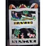 Jantje de Prentenknipper, prentje 'David' (David als herder speelt op zijn harp) en 'NKNZAR' (