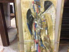 Modern schilderij op paneel 'De Engel' niet gesigneerd, 70x40 cm. (Modern painting, panel, not