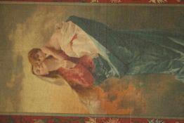 Klassiek schilderij 'Moeder en zoon' gemengd materiaal, 98x60 cm. (Classical painting, nog signed,